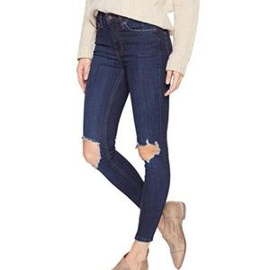 free people jean busted skinny short dark blue